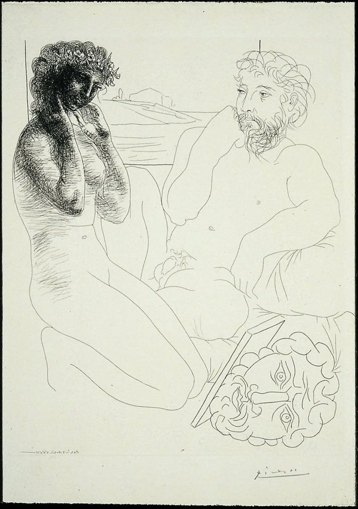 Pablo Picasso   - Sculptor and Kneeling Model Sculpteur et modèle agenouillé 1933  Platemark: 36.8 x 29.8 cm (14 1/2 x 11 3/4 in.) Etching
