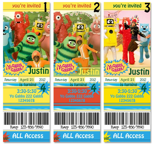 83 best daphnies bday yo gabba gabba party images on pinterest, Birthday invitations