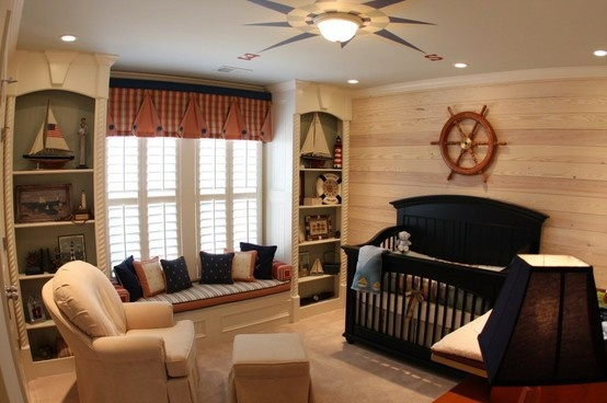 Nautical baby room. -could take all the stuff out of the bathroom that you decorated nautical and ending up hating ;)