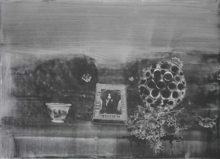 Christopher Cook 'Madonna of the munitions'  graphite on paper 72 x 102 cm 2016