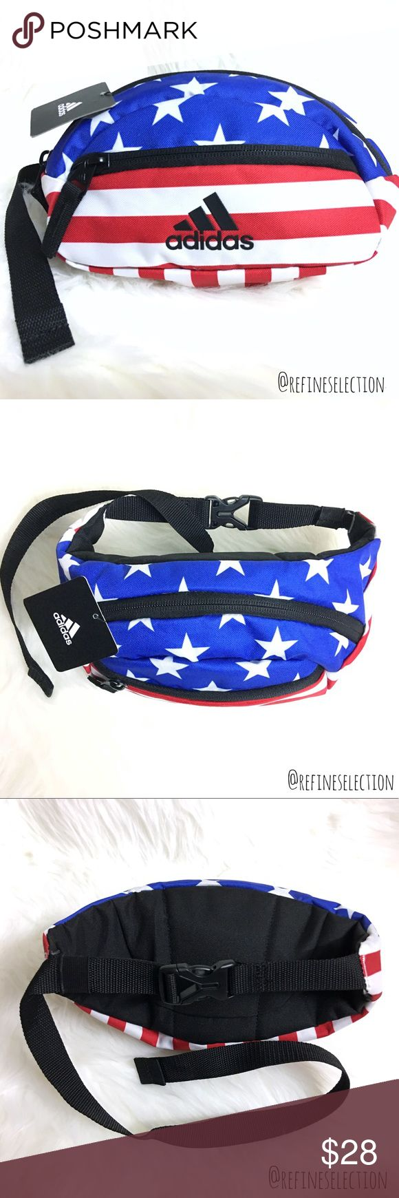 """Adidas American Flag Rand II Fanny Pack Waistpack Brand new with tags. This Adidas Originals American Flag Rand II Fanny Pack Waistpack is perfect for festivals, concerts and working out / exercising! Love the American flag, star and stripes print with the adjustable black waistband. One large zipper compartment with one smaller zipper pocket in front. Measures approximately 11.5"""" L x 5.5"""" H x 4"""" D. Made of 100% Polyester. adidas Bags"""