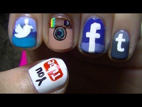 ▶ Social Network App Nail Art - YouTube