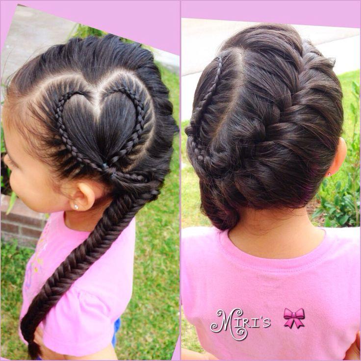 Heart hair style for little girls