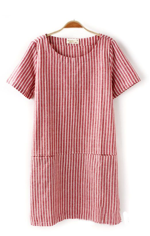 Easy Summer Shift // Two Patch Pockets Vertical Stripes Short Sleeves Dress // R and W