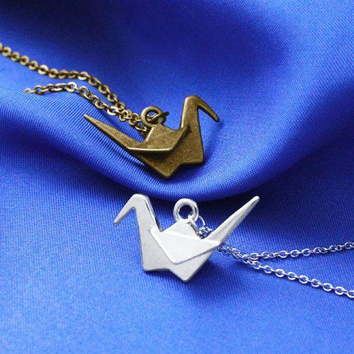 Origami papier kraan ketting, Raven ketting, ketting, kunnen We elkaar weer ketting, Geek sieraden,