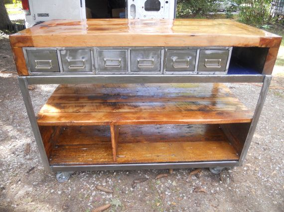 Industrial Kitchen Island. The Whole Island Is On Wheels So ...