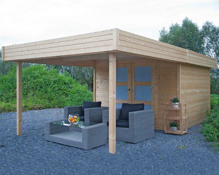 Abri de jardin à toit plat avec pergola 9.07m² en sapin blanc FSC 28mm AALBORG - Tek Import: www.tekimport.fr