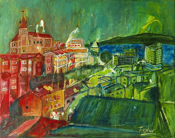 'Vaparaíso from Cerro Concepción', acrylic on canvas, 50x40cm, 2012 #art #painting #artist #acylic #valparaiso #colorful #canvas #fischerart