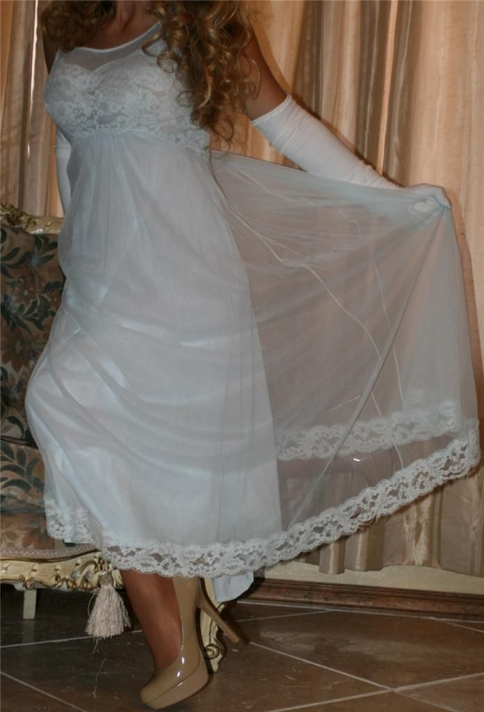White Nightgown With Sheer Chiffon Overlay White Satin Gloves Sheer Shimmer Pantyhose and Beige High Heels