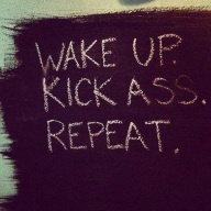 Wake up. Kick Ass. Repeat. Life motto.