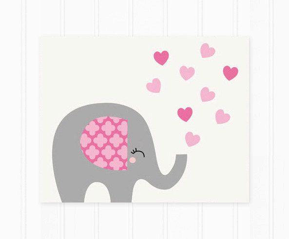 Impresión del arte elefante infantil en rosa por MooseberryPaperCo