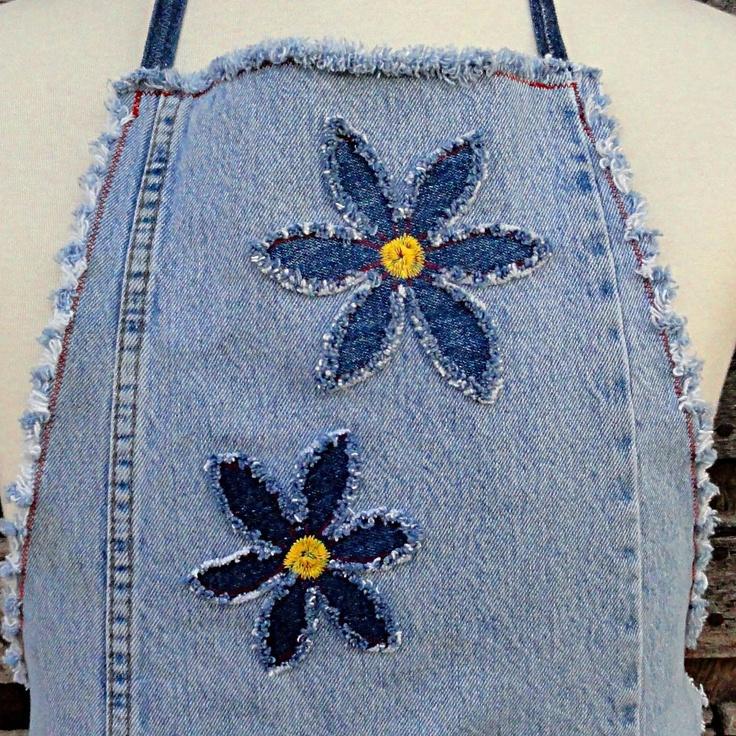 Blue Daisy Denim  Apron  - Upcycled Blue Jeans Apron