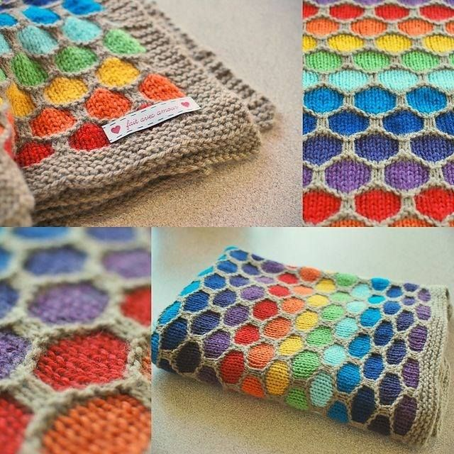 The color options for this honeycomb baby blanket pattern are limitless. That being said, this rainbow version is pretty spectacular. http://lifestyle.howstuffworks.com/crafts/knitting/free-knitting-patterns-for-baby-blankets3.htm