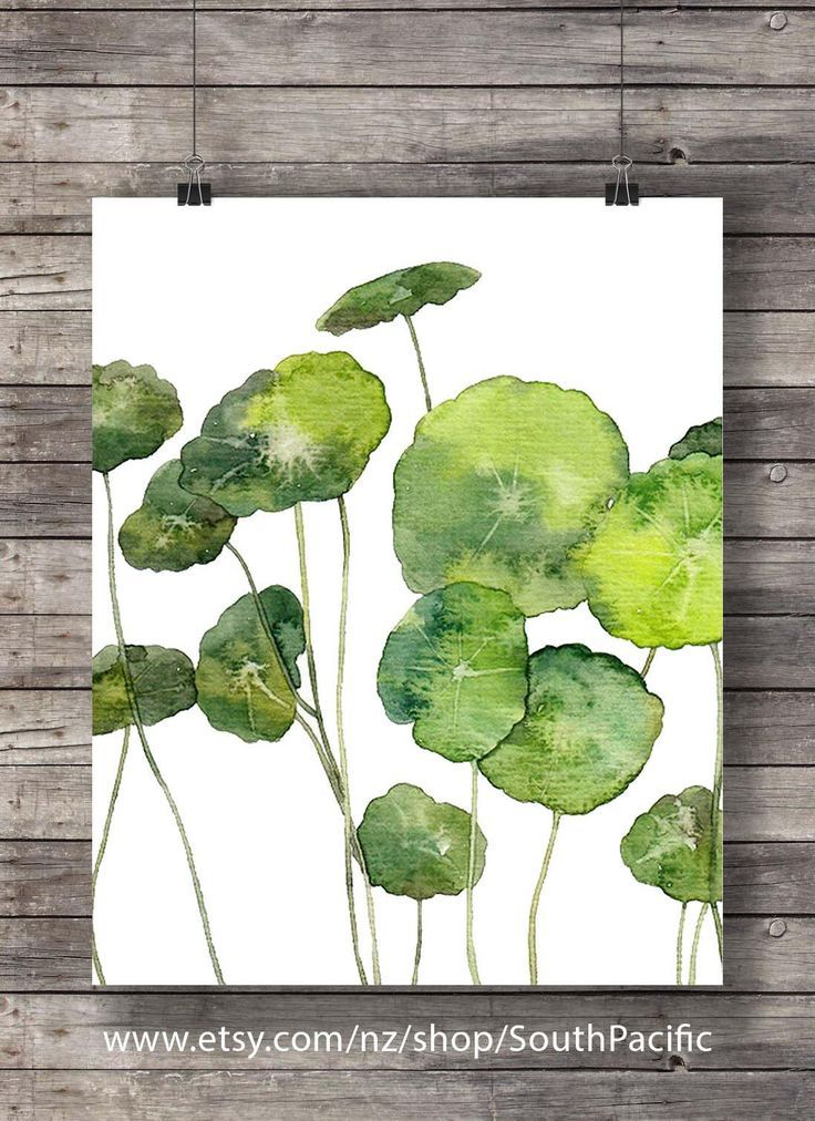 Pilea Peperomioides Leaves Printable Art 8x10 Watercolor Green