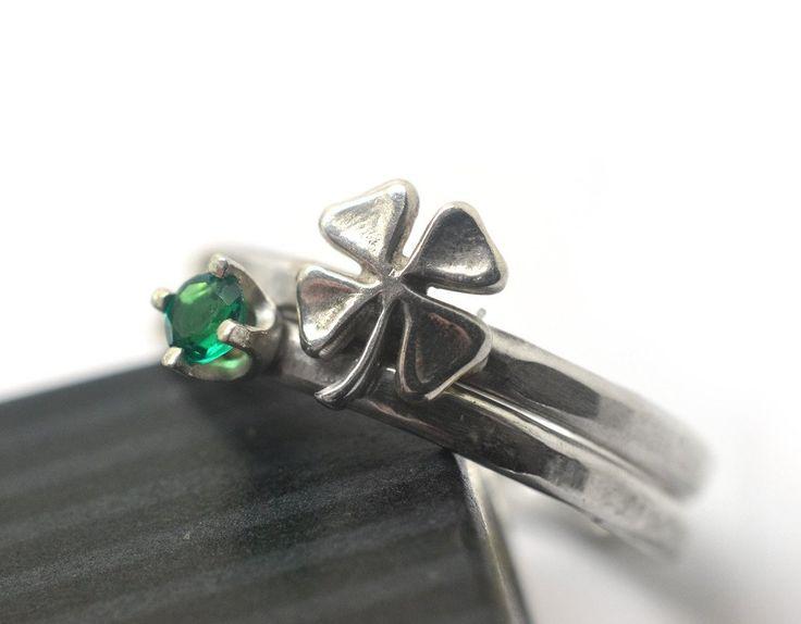 Handmade Celtic Silver Shamrock & Tiny Lab Emerald Stacking Set of 2