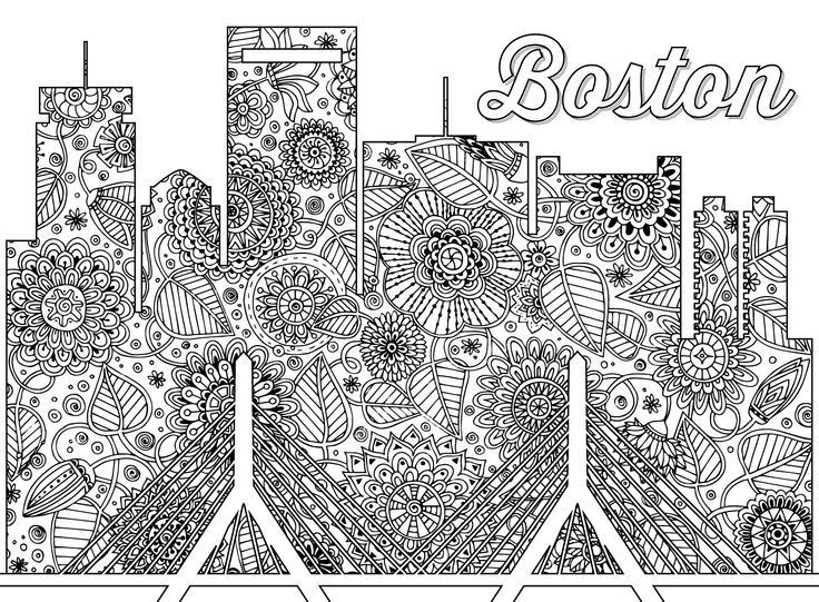 Boston Skyline Adult Coloring Page