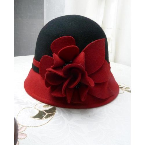 Women Black Red Wool Winter Warm Dress Church Bucket Fashion Hat Shop SKU-158150