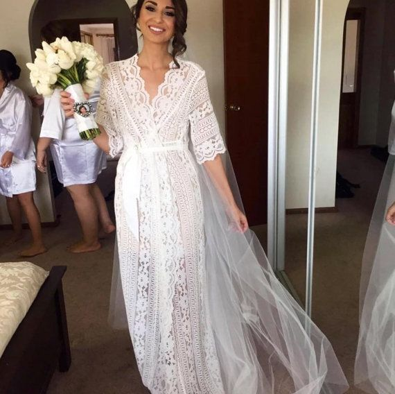 ♥ Our exclusive Le Rose luxe maxi lace robe is the perfect robe for the Bride to…