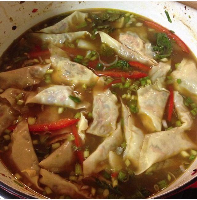 Homemade dumpling soup!