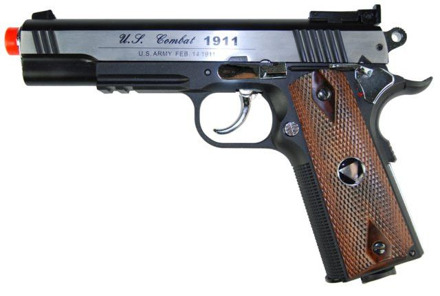TSD CO2 Blowback M1911 Airsoft Pistol - TSD CO2 Blowback M1911 Airsoft Pistol, 2-Tone Metal Slide, Black Nylon Frame, & Wood Grips. Adjustable Hop Up, 475+ FPS with .20g BBs, Packaged in Pistol Case.Legal Disclaimer Restrictions: You must be 18 or older to order this product. In some areas, state and local laws further restrict or prohibit the sale and possession of this product. In ordering this product, you certify that you are at least 18 years old and satisfy your jurisdiction's legal…