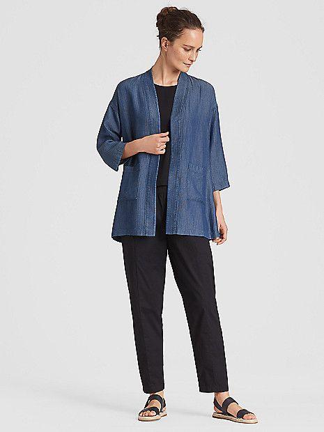 1923e71df Eileen Fisher Denim Tencel Grid Kimono Jacket   my style   Kimono ...