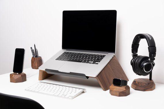 Walnut Laptop Setup Wooden Storage Collection Tidy Desk