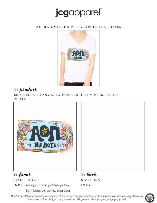 Canvas T Shirt USA Letter Top AOPI *ALL SIZES* Alpha Omicron Pi Bella