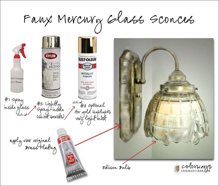 Mercury Glass Light Fixtures Part - 25: How To Paint A Light Fixture To Look Like Mercury Glass - Using Spray Paint  And
