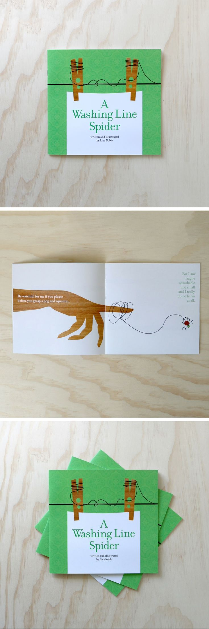 A spider makes its home on the pegs on a washing line.  Sometimes it gives people a fright, but all it wants to do is have some fun... A Washing Line Spider childrens book is now available in our Etsy store! Written and illustrated by Lisa Noble.