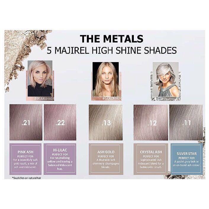 Five Exciting New Majirel Shades Available Now New Metals Majirel Lorealpro Lorealprofessionnel Lore Hair Color Hair Colour Design Hair Color Formulas