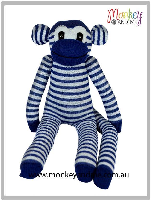 Blue and White thin Sock Monkey  Adopt over at monkeyandme.com.au #sockmonkeys #gifts #toys