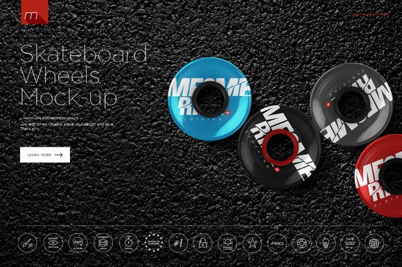 Skateboard Wheels Mock-up by mesmeriseme.pro on @creativemarket