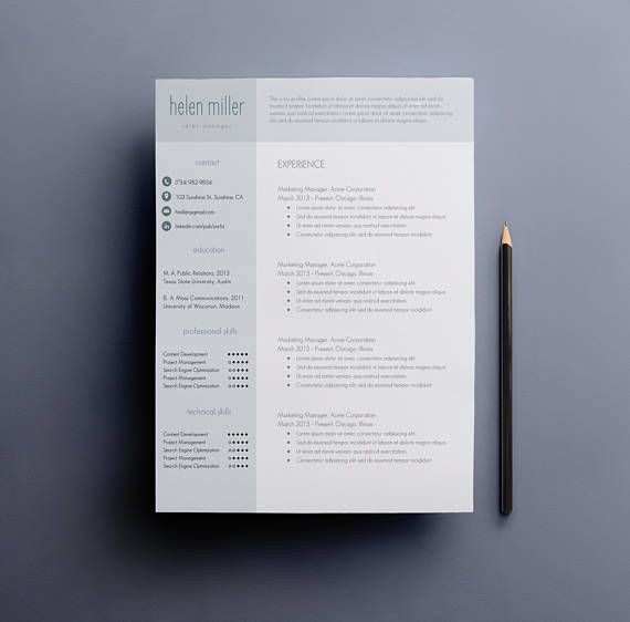Looking for professional resume and cover letter templates? The Helen Miller design is for you. The contact and skills bar is not only professional, but eye-catching. Youll definitely stand out among the sea of white resumes!  Best of all--you can change the color to fit your fancy!  This download includes 3 pages--a two-page resume and cover letter template, with a references section--and the free fonts! With this instant download, you fill in all your details and particulars into the Micros...