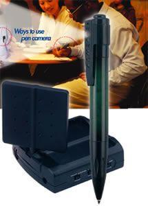 caméra cachée sans fil couleur dans un stylo - cmos - angle de vue  64° - 380 ltv + récepteur 4 canaux