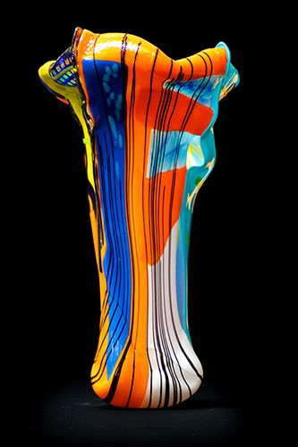 """Square Dance by Suzanne Wallace Mears  kiln formed glass free form vessel 23.5"""" tall $5200 #contemporary #glass #abstractart #santafe #canyonroad"""