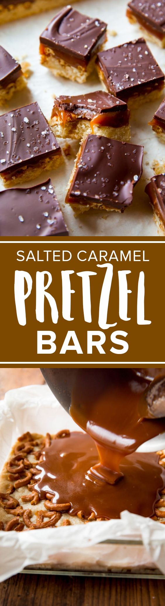 Sweet and salty salted caramel pretzel bars with shortbread crust and dark chocolate sea salt! Easy recipe http://sallysbakingaddiction.com/2016/10/07/salted-caramel-pretzel-crunch-bars/