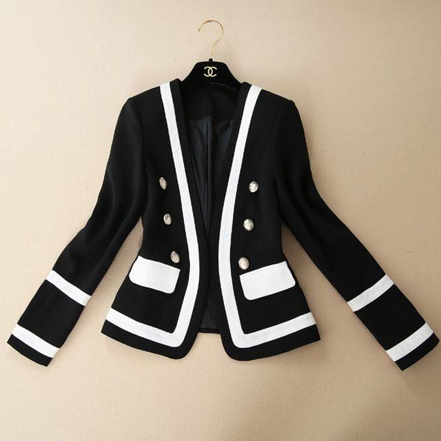 Long Sleeves white and black blazer women Womens Coats And Jackets Autumn 2015 new items of women's clothing 158919 US $52.60 Specifics Closure Type	Hidden Breasted Collar	V-Neck Material	Polyester,Cotton Sleeve Length	Full Clothing Length	Regular Pattern Type	Solid Hooded	No Model Number	158919 Gender	Women Item Type	Blazers Brand Name	None Fabric name	Really Simian Main fabric composition	Silk Content main fabric components	70  Click to Buy :http://goo.gl/t9O329