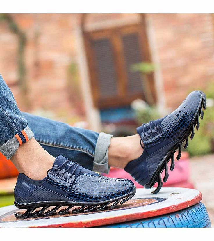 Men's #blue leather runing shoe #sneakers snake skin pattern, casual sport, athletic, running occasions, breathable, Blade-Sole unit helps absorb impact.