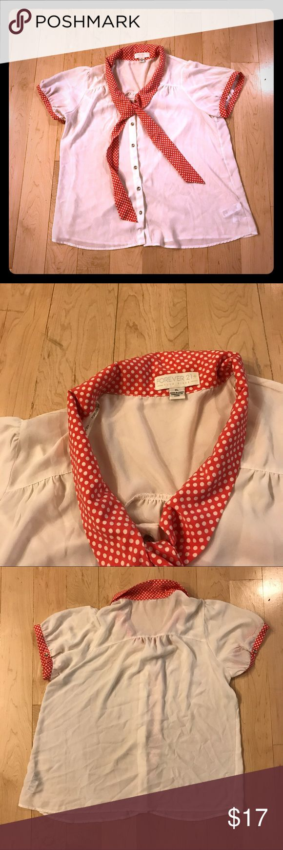 Forever 21+ coral tie polka dot blouse size XL Button down short sleeve blouse with coral polka dot tie and trim from Forever 21+, size XL. Bust: 46 inches. Length: 26 inches. Forever 21+ Tops Blouses