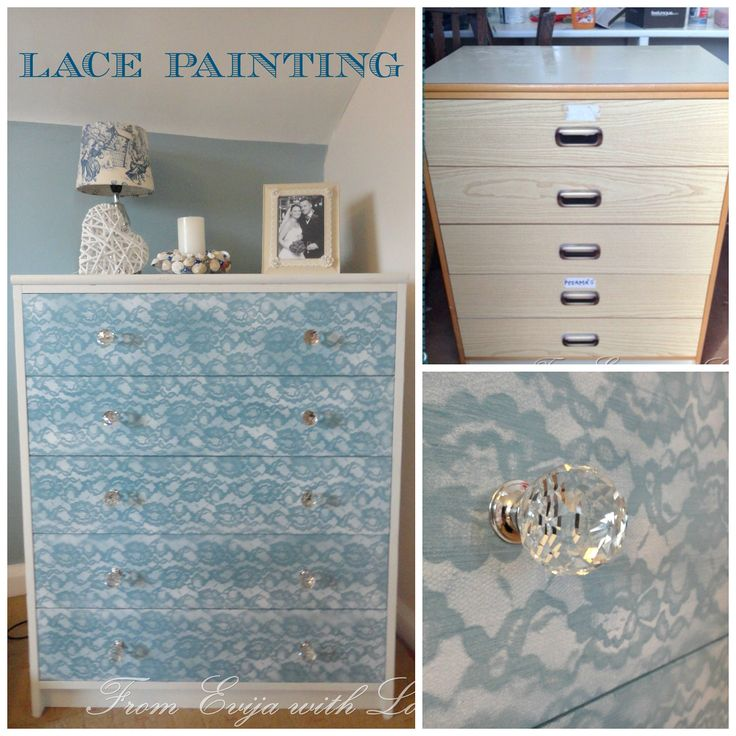DIY Lace Painted Dresser Makeover