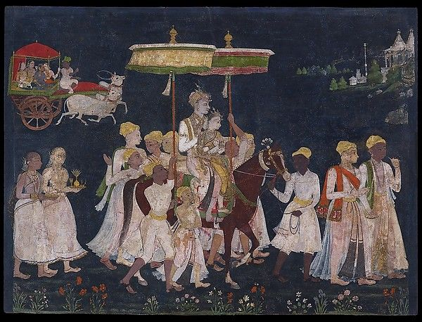 Wedding procession of Sultan Muhammad Quli Qutb Shah Object Name: Album leaf, illustrated Date: ca. 1650 Culture: Islamic Medium: Opaque watercolor and gold on paper Dimensions: Frame: 13 9/16 × 16 15/16 × 5/8 in. (34.5 × 43 × 1.6 cm) Image: 9 9/16 × 12 11/16 in. (24.3 × 32.3 cm) Classification: Codices Credit Line: The Ashmolean Museum, Oxford. Lent by Howard Hodgkin.