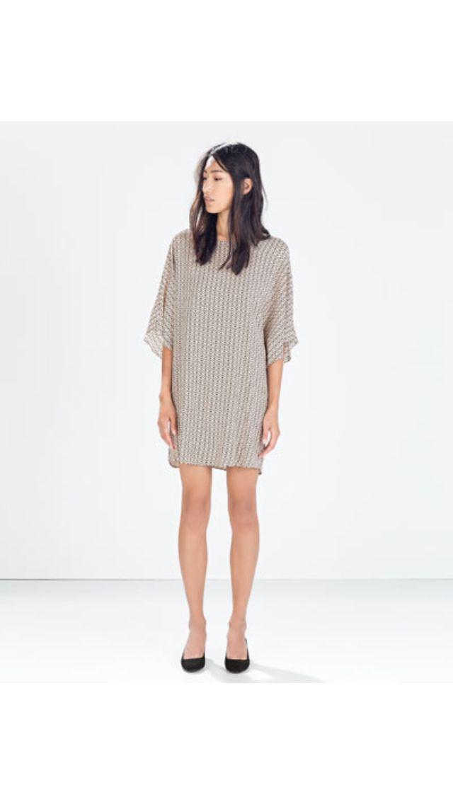 simple loosefit silk dress Zara aw14