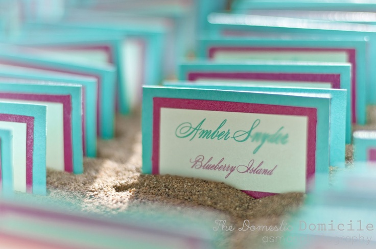DIY Place Cards in Sand :  wedding aqua blue diy old barn wood pink place cards purple reception sand teal Table+name+3