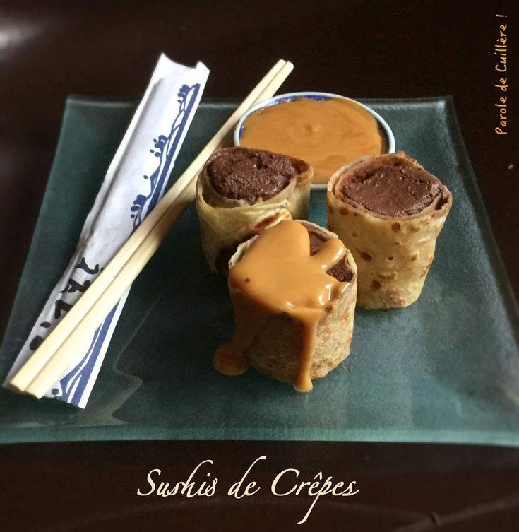 Sushis de crêpes à la mousse au chocolat et sauce au caramel