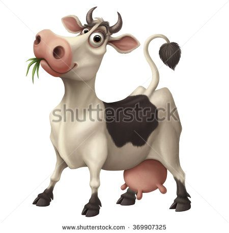 Happy funny cartoon cow chewing grass