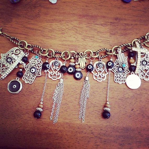 I love this. Christmas present anyone? ? Evil Eye Charm Bracelet by LunasMoonshine on Etsy, $20.00