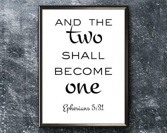 Scripture Wall Art  Ephesians 5 31  Bible Verse Print  Two