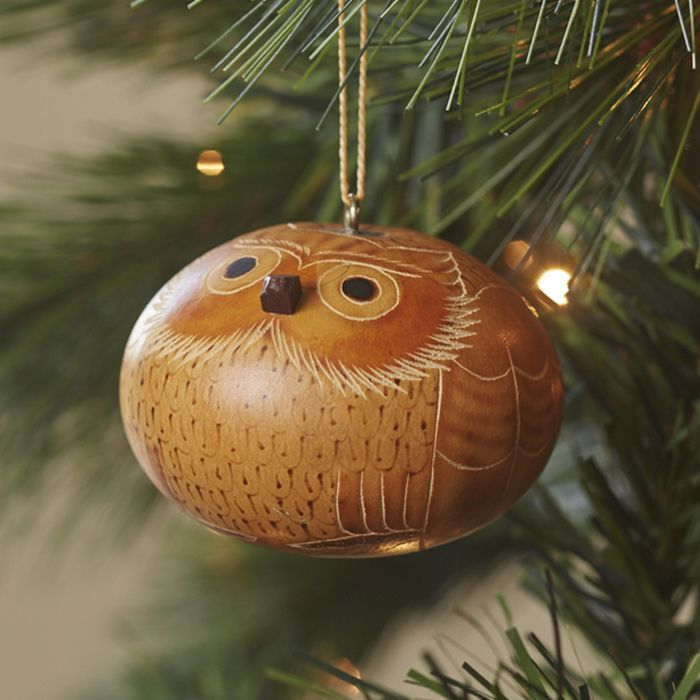 Carved Gourd Owl Ornament