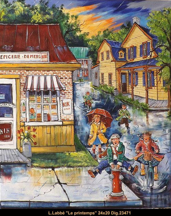 Original oil on canvas painting by Lise Labbé #labbe #artnaif #kidscharacters #spring  #canadianartist #quebecartist #originalpainting #balcondart #multiartltee