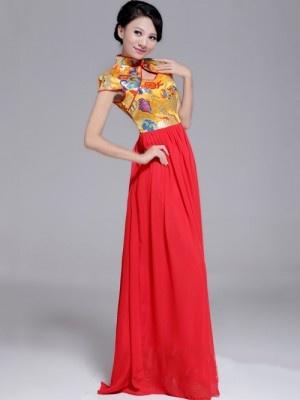 Chinese Cheongsam / Qipao Top & Maxi Chiffon Skirt